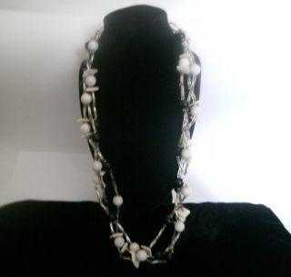 Miriam Haskell Unsigned Usa 3 Strand Strang Luxus Necklace Halskette Lucite Bild