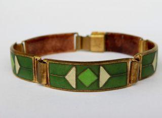 Vintage Armband Grün Emaille Enamel Schibensky Scholz & Lammel Perli Bracelet Bild