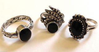 3 Schwarze Onyx 925 Si Szene - Ringe Bild