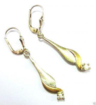 Silberohrringe Ohrringe 925er Silber 925 Ohrhänger Silberohrhänger Weiße Steine Bild