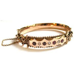 Um 1880: Rubin & Diamant Armreif,  585 Gold Diamantrosen Diamanten Rubine Armband Bild