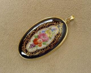 Meissen Porzellan Anhänger Kobalt Bunte Blüten 585 Gold Fassung 14k 37 X 22 Mm Bild