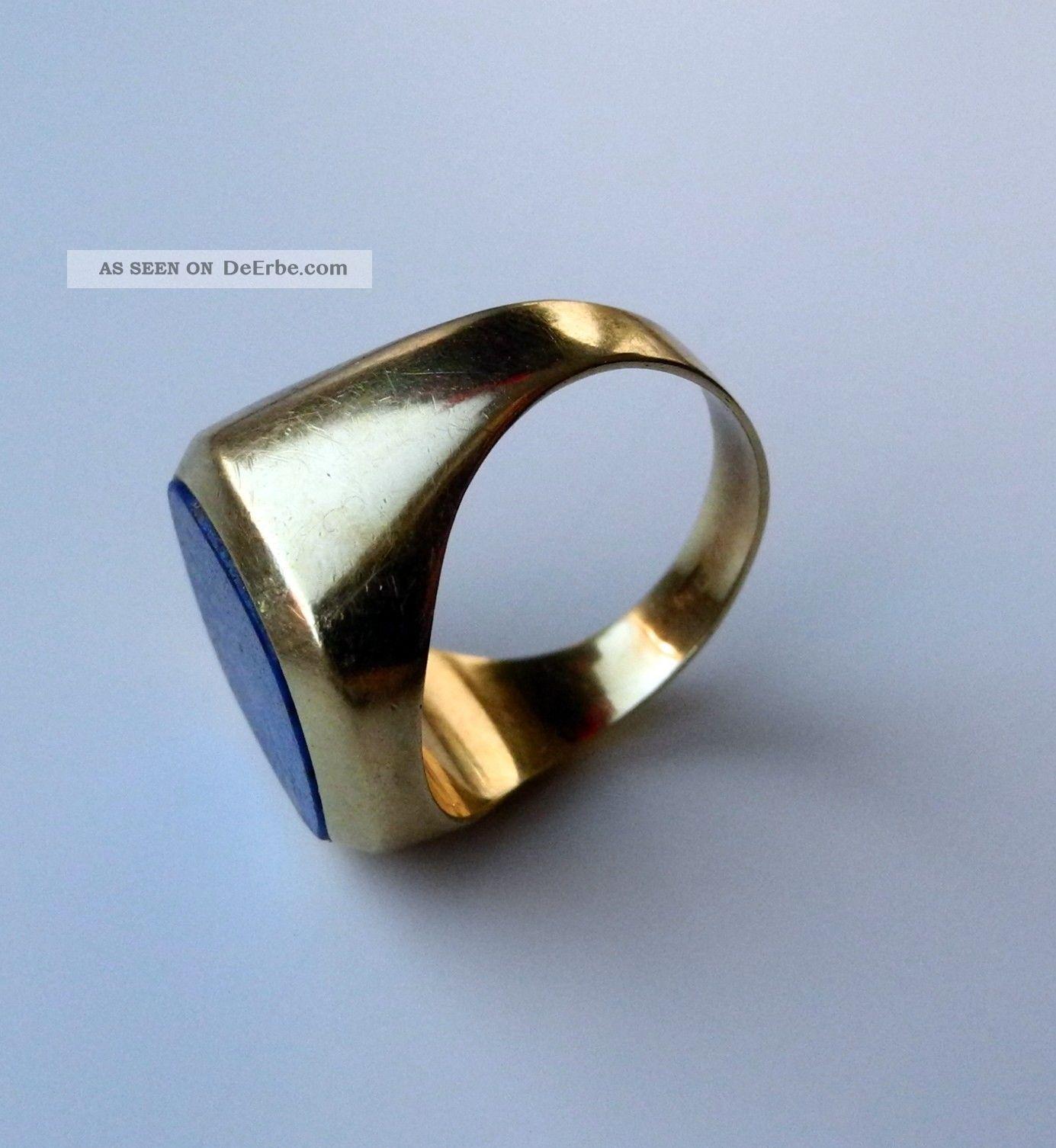 gold ring 585 mit lapis lazuli stein herren. Black Bedroom Furniture Sets. Home Design Ideas