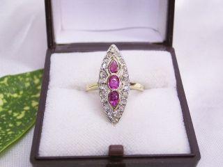 Diamant - Ring & 3 Rubine: Handarbeit Um 1910: 585er Gelbgold: Gr.  : 52 / 16,  5 Bild