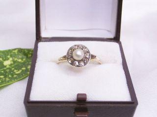 Diamant - Ring & Akoya - Perle: 585er Rotgold: Handarbeit Um 1900: Gr.  : 61 / 19,  4 Mm Bild