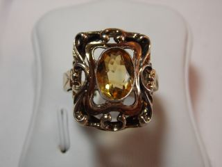 Jugendstil Silber / Vergoldeten Ring Citrin Design Bild