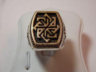 Jugendstil Silber 585 Gold Siegel/ Wappenring Design Bild