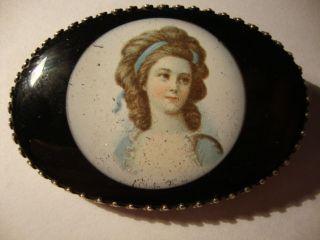 Brosche Emaille 835 Silber Handarbeit Königin Luise Von Preußen Um 1900 Sar Bild