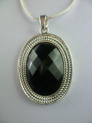 Silberne Halskette Dunkel Blauer Stein - Antik Bild