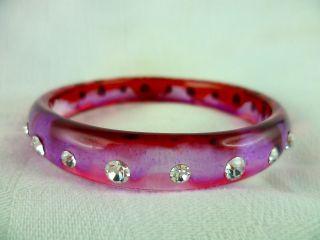 Schöner Pinker Armreifen Mit Strass Steinen - Antik - Bild