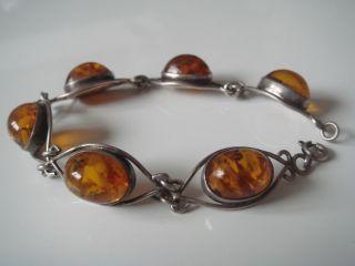 Antikes Art Deco Fischland Armband Echt Silber 835 Mit 6 Echten Bernstein Amber Bild