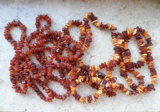 2 Xxl Natur Bernstein Ketten Butterscotch - Honig Amber Necklace 180 Gramm Bild