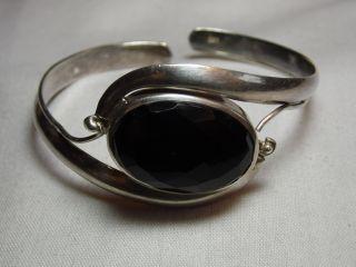 Art_deco 925er Silber Armreif Onyx Massiv:30,  35 Gr.  Design Bild
