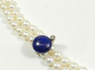585 Weißgold Clip 0,  15ct Brillant Und Lapis Lazuli Perlenkettenclip Kettenkürzer Bild