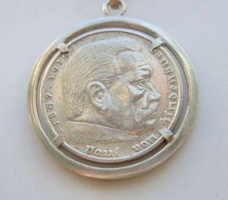 Silber Hindenburg Münz Medaillion An Kette Von 1936 Bild