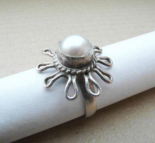 Toller Art Deco Perle Silber Ring,  925 Gepunzt,  Handarbeit,  Top Bild