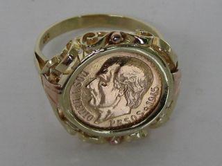 Selten: Münzring Antik Sammlermünze Dos Y Medio Pesos 1945 900/585 Gold Bild