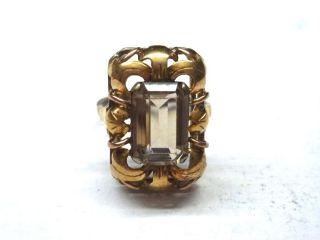 Antiker Silberring Mit Goldauflauge Mit Hellem Stein 8ql1266 Bild