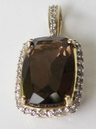 Schöner Diamantanhänger 585 Gelbgold 0,  16 Karat Diamant 14 Karat Gold Rauchtopas Bild