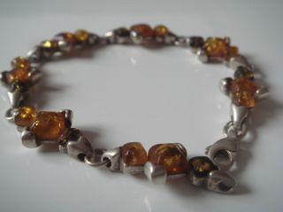 Antikes Art Deco Armband Echt Silber 925 Mit Echten 3 Farbigen Bernstein Amber Bild