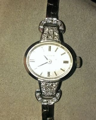 Echtes 585 Weißgold 30 Brillanten Echt Gold 1959 J.  Damen Uhr Zertifikat Jeneve Bild