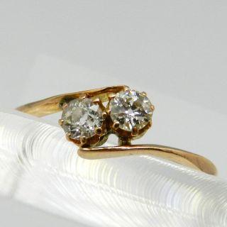 Zeitloser Schöner 585er Gold Ring Mit 2 Brillianten 0,  4 Karat Um 1920 - S2721 Bild