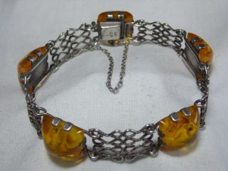 Art_deco 835er Silber Armband 5x Bernsteine Massiv:18,  88 Gr.  Design Bild