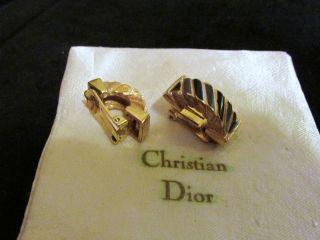 Cristian Dior Ohrclips Creolen Ohrringe Vergoldet Emaille Grün - Blau Top Bild