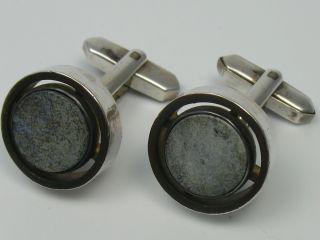 Klasse Alte 60er 70er Jahre ManschettenknÖpfe Aus 835 Silber Mit Grauen Steinen Bild