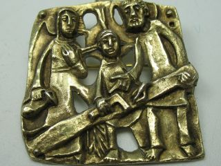 Massiver Alter Christlicher AnhÄnger Und Brosche Aus Vergoldetem 900 Silber Bild