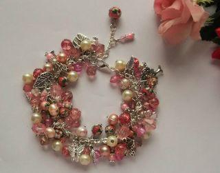 Schönes Romantisches Armband,  Cloisonneperlen,  Echte Süßwasserperlen,  19,  0 Cm Bild