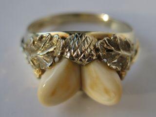 Grosser 333 Gelbgold Grandl Ring Hirschgrandln Gold Grandlring Trachtenschmuck Bild