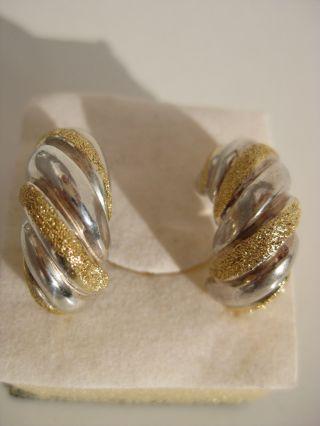 Massive 925 Silber Sterling Ohrringe Teilvergoldet Ohrschmuck Gross Schwer Milor Bild