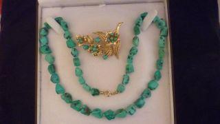 Alter Goldkette 333er,  8 Kt Halskette Mit Brosche Türkis Edelsteinen Bild