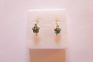 Exclusive Seltene Biedermeier Ohrringe Gold 585 Vergißmeinnicht Türkis Perle Bild