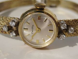 Antike 585 Diamantuhr Gelbgold Armbanduhr Gold 6 Diamanten Uhr Geht Richtig Bild