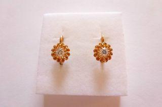 Exclusive Seltene Jugendstil Art Nouveau Ohrringe Gold 585 Mit Brillanten 0,  12 Bild