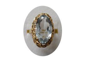 Antiker Ring 333 Gold Aquamarin Körbchenring Gr.  54 Bild