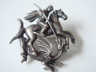 Antike Jugendstil Brosche Reiter Auf Pferd Kampf Gegen Drache Echt Silber 935 Bild