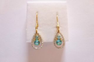 Exclusive Prachtvolle Ohrringe Gold 585 Gehänge Aquamarine Brillanten Bild