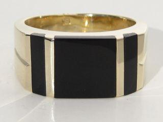 Massiver 585 Gelbgold Ring Mit Onyx,  Goldring,  14 Karat Gold,  Onyxplatte Bild