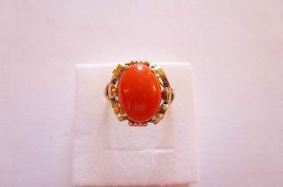Sehr Exclusiver Prachtvoller Antiker Ring Gold 585 Geschwungen Große Koralle Bild