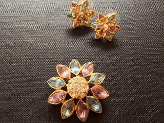 Ohrstecker,  Anhänger Blütenform Vergoldet Strass Schmuckset Sammlung Vintage Bild