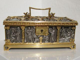 Wunderschöne,  Sehr Edle Alte Schmuckschatulle Gothischer Stil,  Schwer,  Ca 2,  2 Kg Bild