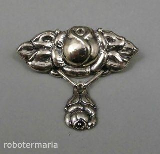 Um 1910: Silber Brosche Rosen,  DÄnemark,  Signiert Bild