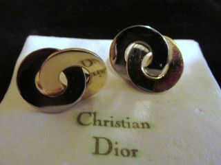 Christian Dior Ohrclips Creolen Ohrringe Silber - Vergoldet - Plated - HÜbsch Bild