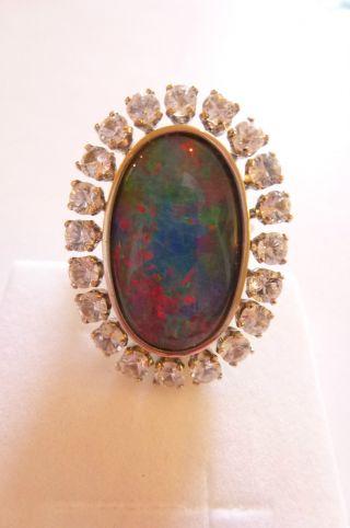 Sehr Exclusiver Prachtvoller Ring W - Gold 585 Große Opaltriplette Und Saphire Bild