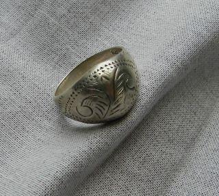 Alter Silberner Ring Mit Floralem Muster Silber Sterling Gestempelt 925 Bild
