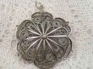 Antik Anhänger Filigran Silber Silberdraht Perlrand Verziert Blume 4,  5 Cm Dm 9gr Bild