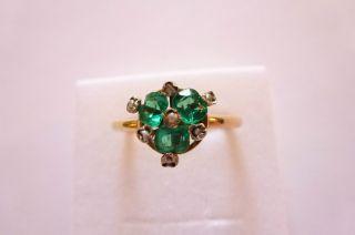 Sehr Exclusiver Prachtvoller Jugendstil Art Nouveau Ring Gold 585 Smaragd Perlen Bild